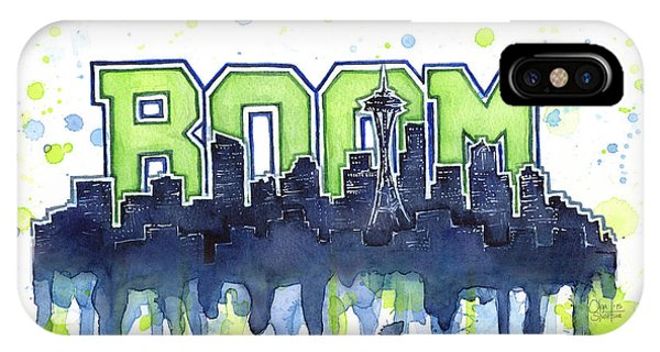 Hawk iPhone Case - Seattle 12th Man Legion Of Boom Watercolor by Olga Shvartsur