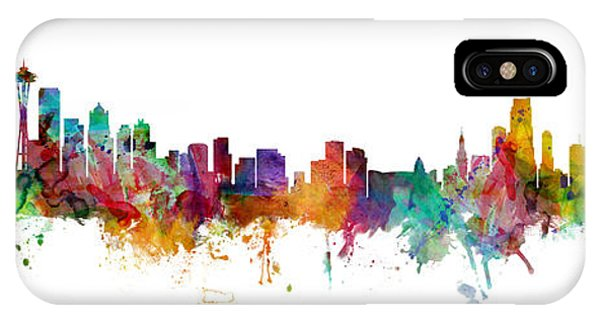 Seattle iPhone X Case - Seattle And Miami Skylines Mashup by Michael Tompsett