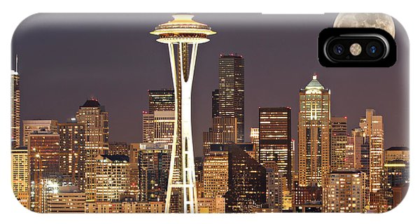 Skyline iPhone Case - Seattle Full Moon by Paul Fell