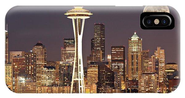 Skyline iPhone Case - Seattle Full Moon by Paul Fell