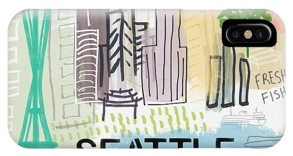 Seattle iPhone Case - Seattle Cityscape- Art By Linda Woods by Linda Woods