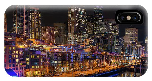 The Nature Center iPhone Case - Seattle Cityscape Full Moonrise by Mike Reid