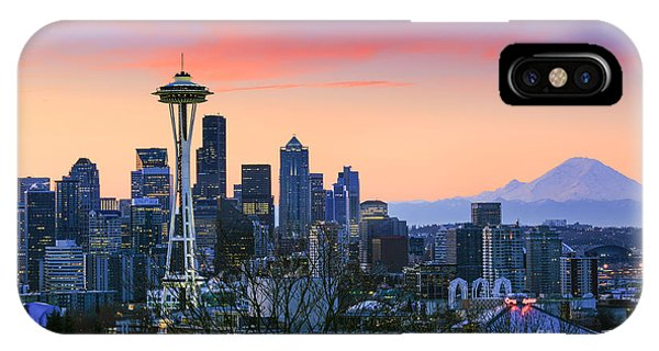 Downtown Seattle iPhone Case - Seattle Waking Up by Inge Johnsson