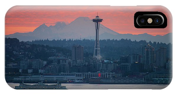 Downtown Seattle iPhone Case - Seattle Icons Sunrise by Mike Reid