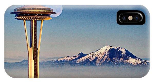 Seattle Needle At Moonrise IPhone Case