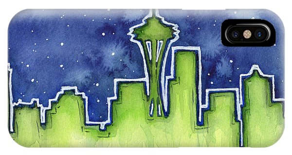 Downtown Seattle iPhone Case - Seattle Night Sky Watercolor by Olga Shvartsur