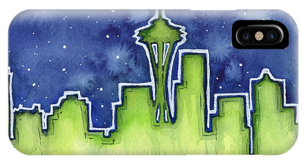 Seattle Skyline iPhone Case - Seattle Night Sky Watercolor by Olga Shvartsur