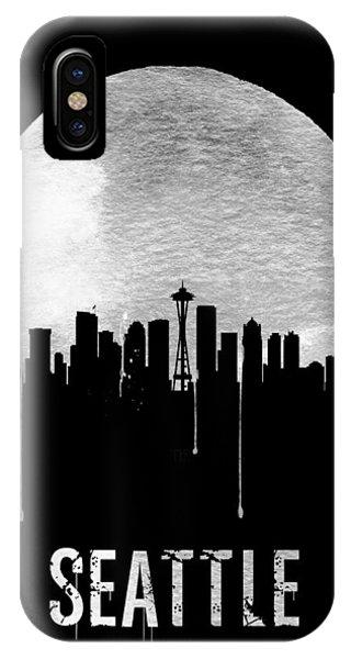 Seattle iPhone X Case - Seattle Skyline Black by Naxart Studio