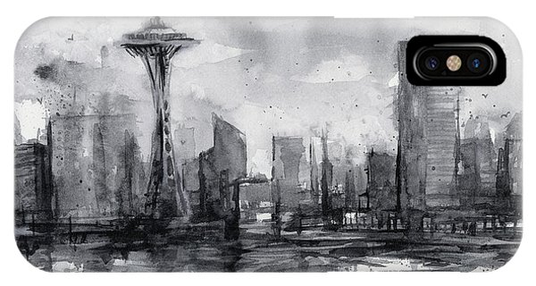 Downtown Seattle iPhone Case - Seattle Skyline Painting Watercolor  by Olga Shvartsur