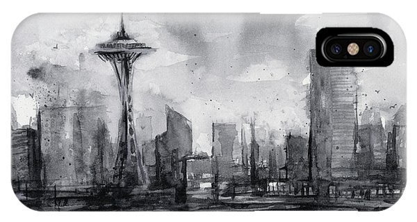 Seattle Skyline Painting Watercolor  IPhone Case