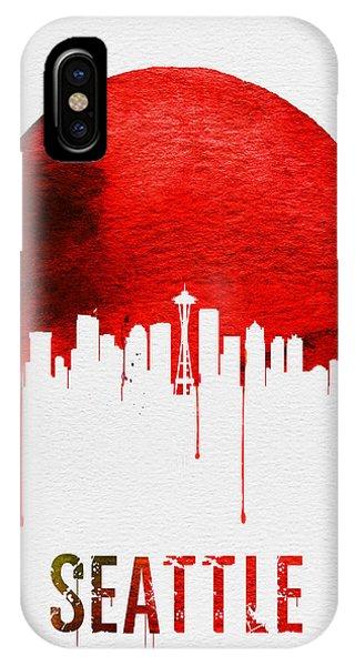Seattle iPhone X Case - Seattle Skyline Red by Naxart Studio