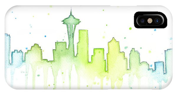 City Scenes iPhone Case - Seattle Skyline Watercolor  by Olga Shvartsur