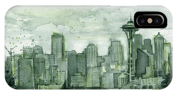 Seattle Skyline iPhone Case - Seattle Skyline Watercolor Space Needle by Olga Shvartsur