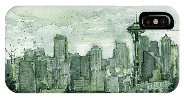 City Scenes iPhone Case - Seattle Skyline Watercolor Space Needle by Olga Shvartsur