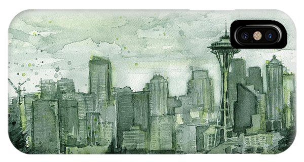 Seattle Skyline Watercolor Space Needle IPhone Case