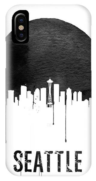 Seattle iPhone X Case - Seattle Skyline White by Naxart Studio