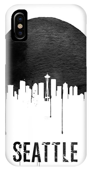Seattle Skyline iPhone Case - Seattle Skyline White by Naxart Studio