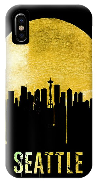 Seattle Skyline iPhone Case - Seattle Skyline Yellow by Naxart Studio