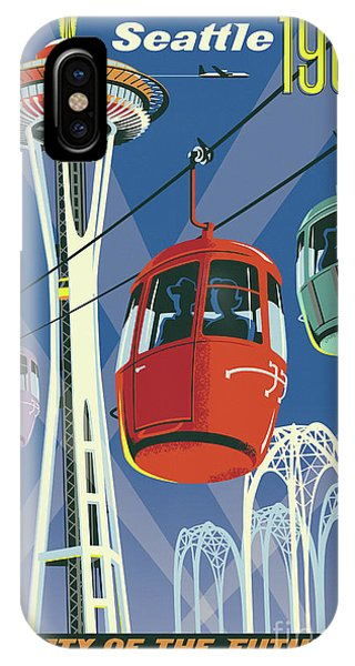 Futuristic iPhone Case - Seattle Poster- Space Needle Vintage Style by Jim Zahniser