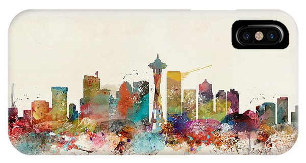 Seattle iPhone X Case - Seattle Washington Skyline by Bri Buckley