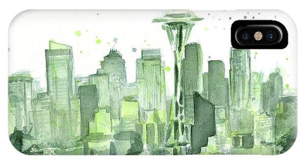 Washington iPhone Case - Seattle Watercolor by Olga Shvartsur