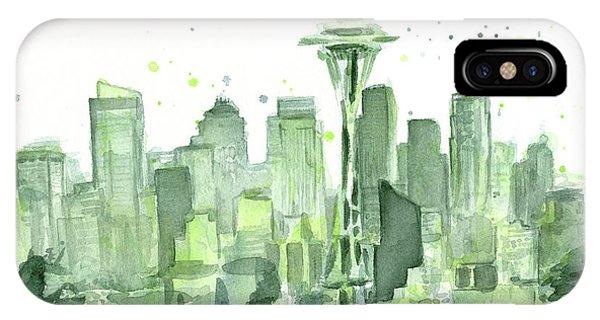 Seattle iPhone Case - Seattle Watercolor by Olga Shvartsur