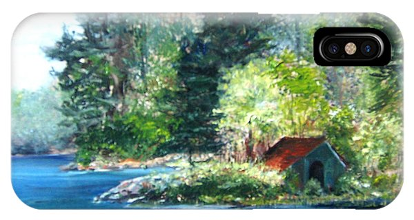IPhone Case featuring the painting Secluded Boathouse-millsite Lake  by Jan Byington