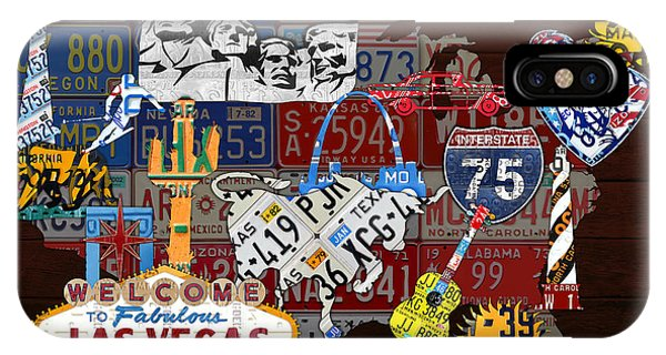 See The Usa Vintage Travel Map Recycled License Plate Art Of American Landmarks IPhone Case