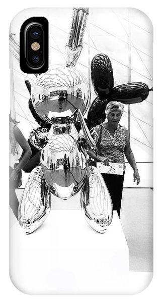 Self Portrait In Jeff Koons Mylar Rabbit Balloon Sculpture IPhone Case