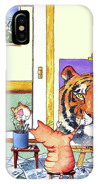 Tabby iPhone Case - Self Portrait, Tiger by Jim Tweedy