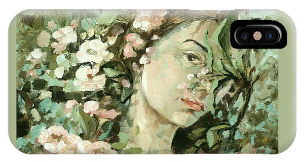 Self Portrait With Aplle Flowers IPhone Case