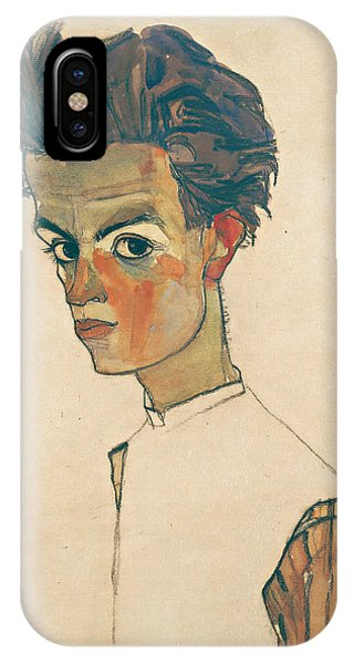 20th Century Man iPhone Case - Self-portrait With Striped Shirt by Egon Schiele
