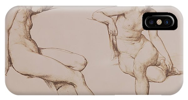 Female iPhone Case - Sepia Drawing Of Nude Woman by William Mulready