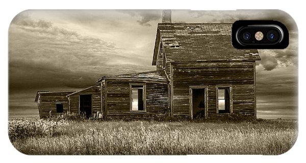 Sepia Tone Of Abandoned Prairie Farm House IPhone Case