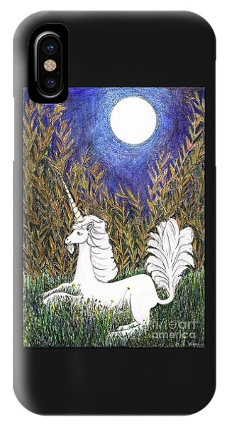 IPhone Case featuring the painting September Unicorn by Lise Winne