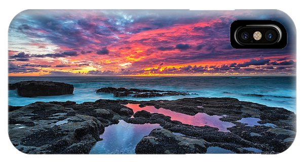 Red iPhone X Case - Serene Sunset by Robert Bynum