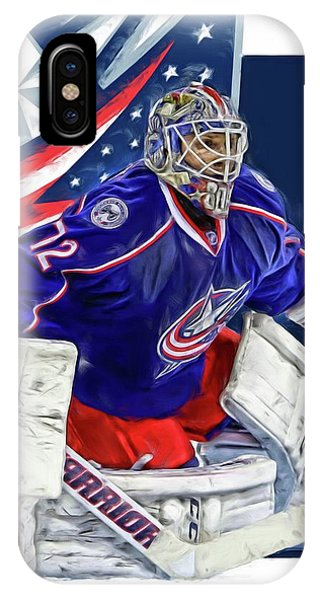 Winter iPhone Case - Sergei Bobrovsky Columbus Blue Jackets by Joe Hamilton