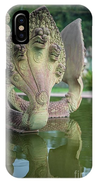 Cambodia iPhone Case - Seven Headed Cobra In Temple by Mike Reid