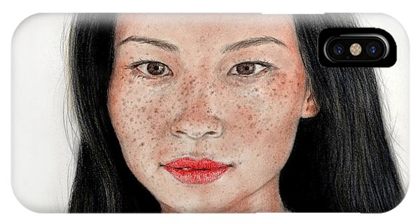 Leading Actress iPhone Case - Sexy Freckle Faced Beauty Lucy Liu by Jim Fitzpatrick