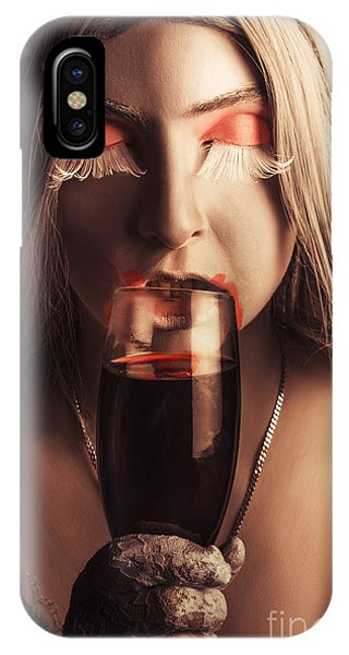 Potion iPhone Case - Sexy Vampire Girl With Holding Glass Of Blood by Jorgo Photography - Wall Art Gallery