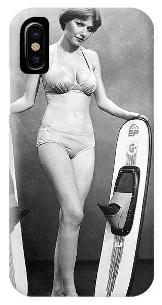 Water Ski iPhone Case - Sexy Woman Advertises Skis by Underwood Archives