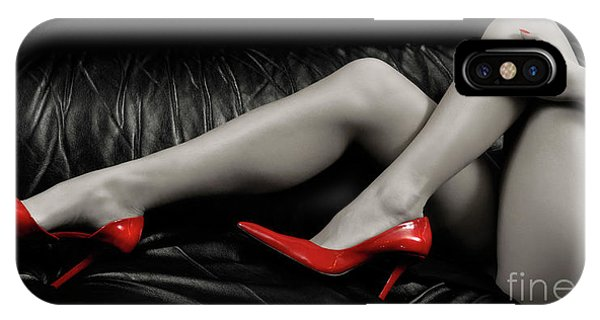 Sexy Woman Legs In Red High Heels IPhone Case