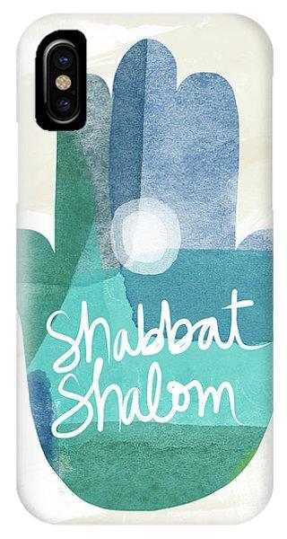Shabbat Shalom Hamsa- Art By Linda Woods IPhone Case