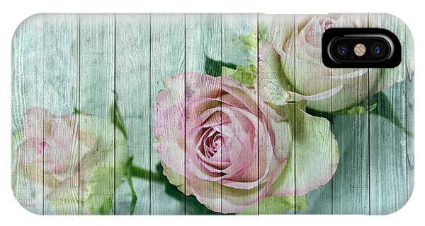 Shabby Chic Pink Roses On Blue Wood IPhone Case