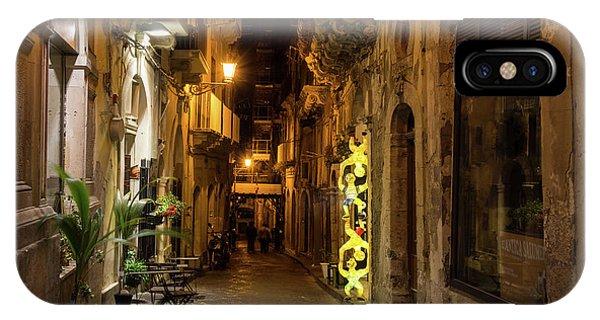 Midnite iPhone Case - Shabby Chic - Small Street Night Walk In Syracuse Sicily by Georgia Mizuleva