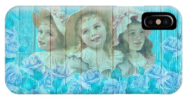 Shabby Chic Vintage Little Girls And Roses On Wood IPhone Case
