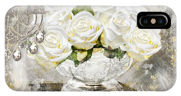 Silver And Gold iPhone Case - Shabby White Roses With Gold Glitter by Mindy Sommers