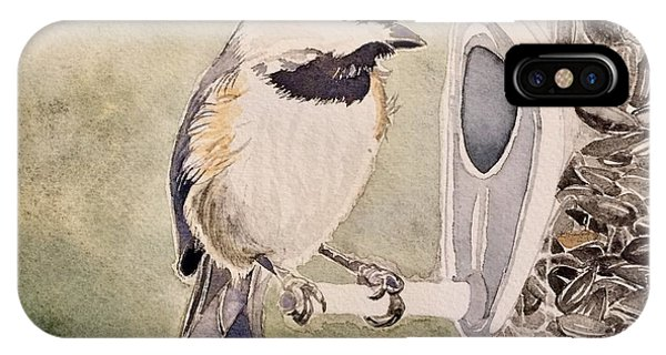 Shades Of Black Capped Chickadee IPhone Case