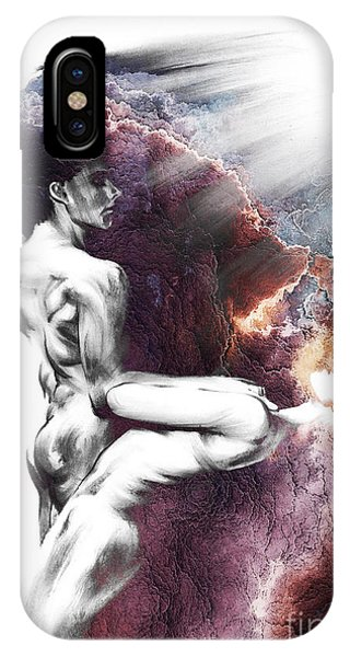 Shadowtwister Formation Conte Drawing - Textured  IPhone Case