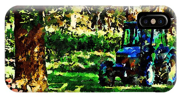 IPhone Case featuring the painting Shady Tractor by Angela Treat Lyon